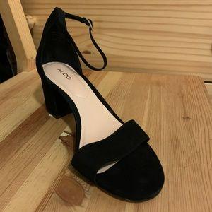 Aldo Villarosa Black Suede Heels (Women's 8.5)